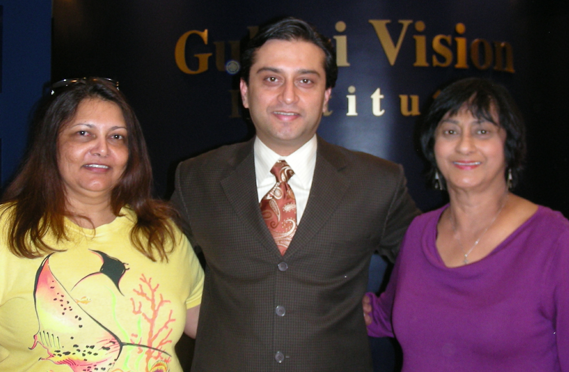 Bernadette and Maggie (cousin from Virginia) with Dr.Gulani Gulani Vision Institute Jacksonville Florida