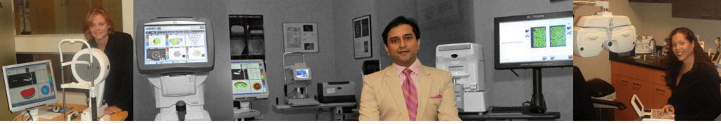 Dr. Gulani taking pictures next to lasik equipment