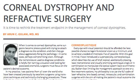 Corneal Dystrophy & Refractive surgery