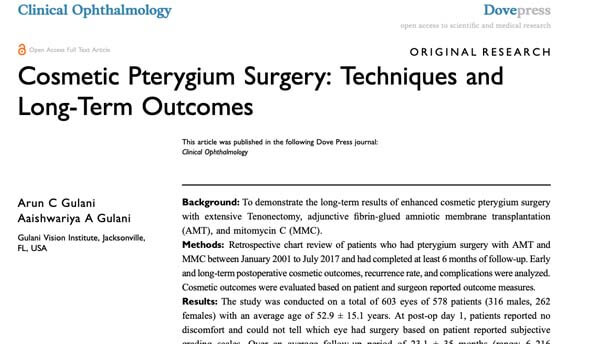 Cosmetic Pterygium Surgery
