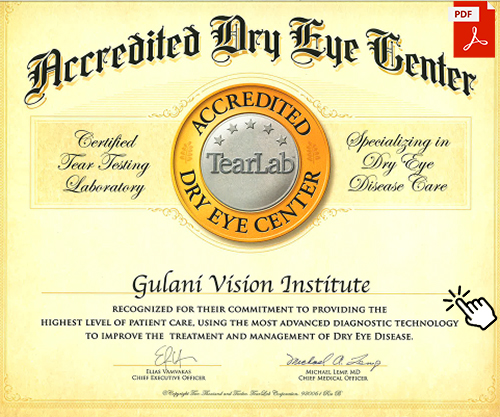 Accredited Dry Eye Center - Gulani Vision Institute