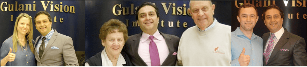 ophthalmologist with individual patients after lasik surgery