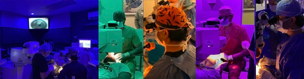 ophthalmologist during cataract surgery