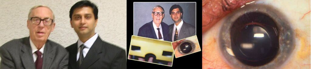 Dr. Gulani with late Dr. Jan Worst from Holland whose iris claw lens invention has evolved into the Artisan phakic implant.