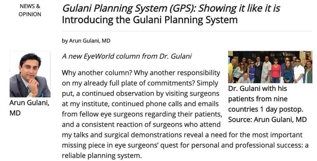 Gulani Planning System (GPS): Showing it like it is Introducing the Gulani Planning System